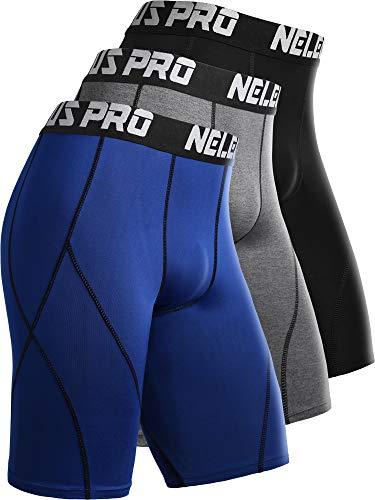 Neleus Men's 3 Pack Sport Running Compression Shorts,6012,Black,Grey,Blue,XL,EU 2XL -
