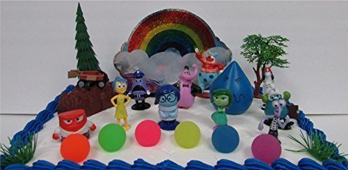 """Disney Pixar INSIDE OUT 22 Piece BIRTHDAY CAKE Topper Set Featuring Joy, Sadness, Anger, Fear, Bing Bong, Disgust, Jangles the Clown and Other Figures, 6 Memory Balls, Themed Decorative Accessories, Figures Average 1/2"""" to 2.5"""" Tall"""
