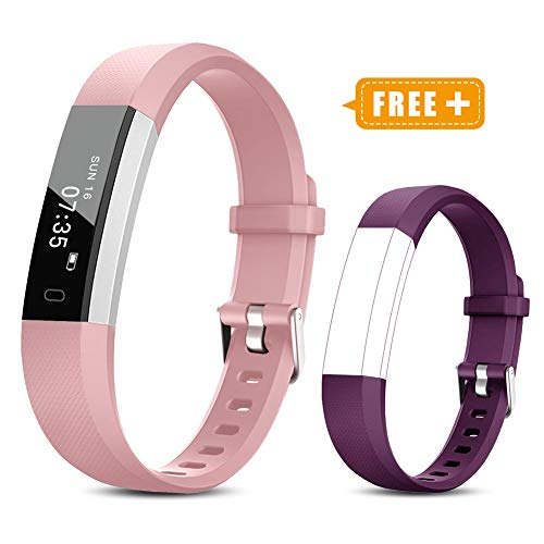 TOOBUR Fitness Activity Tracker Watch for Kids Girls Women, Pedometer, Calorie Counter, IP67 Waterproof Step Counter Watch with Sleep Monitor and Vibrating Alarm Clock (Pink Purple)