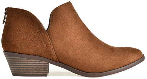 Madeline Zip Western Women's Casual Up on Toe Heel Boot Ankle Cognac Bootie Stack Slip Almond Round Suede Low dqFFwP5