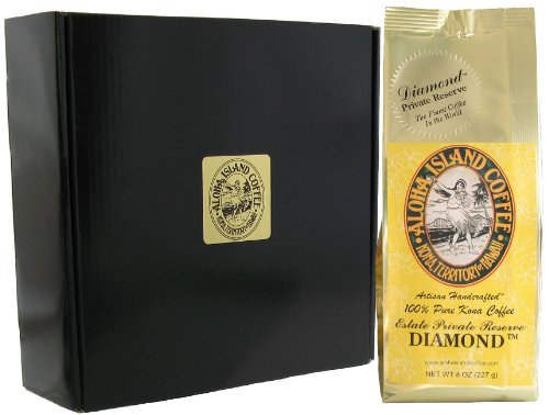 Sophisticated Coffee Gift with DIAMOND 100% Pure Kona Coffee, One 8 Oz Whole Bean in Gift Box, the Ultimate Coffee Gift for Coffee Lovers for Christmas, Birthday, Corporate Gift, All Occasions