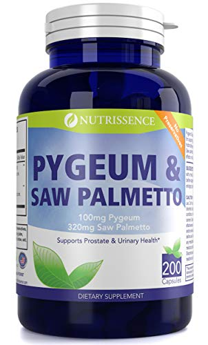 Pygeum and Saw Palmetto 200 Capsules - 100mg Pygeum & 320mg Saw Palmetto - Nutrissence - Prostate & Urinary Health Supplement