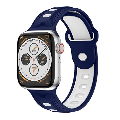 - Cywulin Compatible for Apple Watch Band 38mm 42mm 40mm 44mm, Soft Silicone Sport Wrist Strap Loop Replacement Bracelet Breathable for iWatch Series 4 3 2 1 Nike+ Sport Edition (38mm/40mm, Navy)