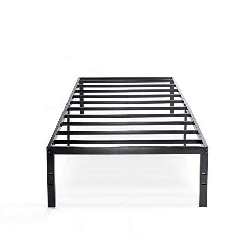 Best Price Mattress Twin Bed Frame - 14 Inch Metal Platform Beds w/ Heavy Duty Steel Slat Mattress Foundation (No Box Spring Needed), Black