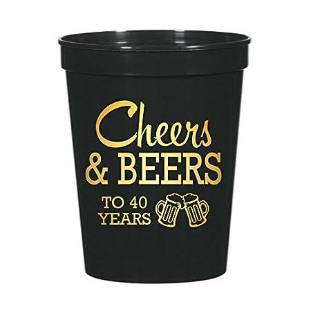 Cheers y cervezas a 40 años 40th fiesta de cumpleaños vasos ...