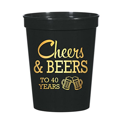 (Cheers and Beers to 40 Years Plastic Cups for a 40th Birthday Party, Stadium Cups, 40th Birthday Decorations, Disposable Cups, Cheers and Beers, 40th Birthday )