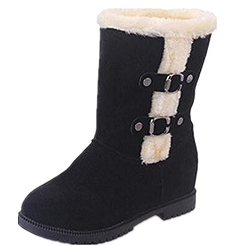 01edcb73b11 chic Women s Winter Snow Heavy Fur Lining Buckles Slip on Casual Fashion  Cold Weather Outdoor Snow