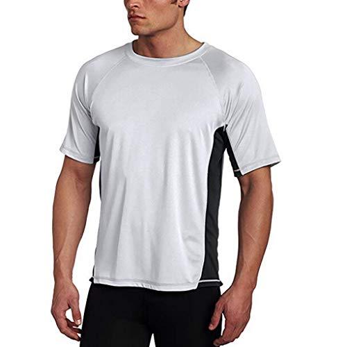 Mens Pure Color Splice Casual Slim Fashion T-Shirt Lapel Short Sleeve Shirt White