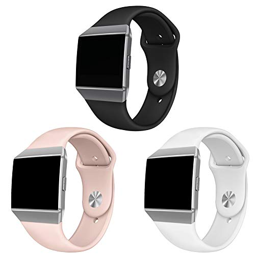 (NAHAI Compatible Fitbit Ionic Bands, Soft Silicone Replacement Strap Accessory Breathable Wristbands for Fitbit Ionic Smart Watch, Small, 3 Pack-Black/White/Sand Pink)