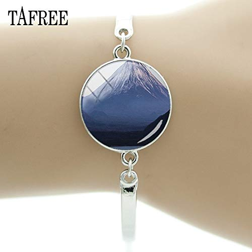 Chain & Link Bracelets - Mount Fuji Bracelet Famous Mountain of Japan Picture Glass Cabochon Dome Women Exquisite Jewelry FA256 - by Mct12-1 PCs