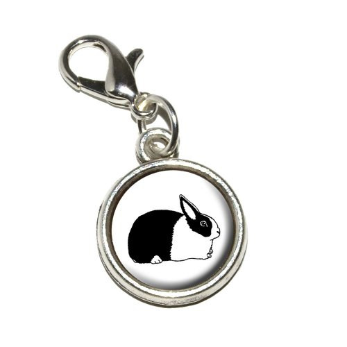 Graphics and More Dutch Rabbit Antiqued Bracelet Pendant Zipper Pull Charm with Lobster (Rabbit Charms Pendant)