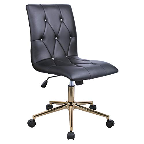 (Duhome High Back Diamond Tufted Designer Home Office Task Chair Executive Computer Desk Receptionist Rolling Chair (Black Tuft))