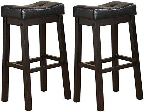 BOWERY HILL 29 Faux Leather Saddle Style Seat Bar Stool in Black and Cappuccino Set of 2
