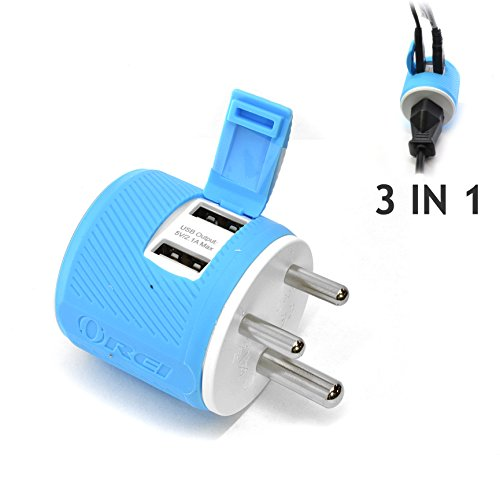 Travel Plug India - India, Nepal, Maldives Travel Plug Adapter by OREI with Dual USB - USA Input + Surge Protection - Type D (U2U-10), Will Work with Cell Phones, Camera, Laptop, Tablets, iPad, iPhone and More