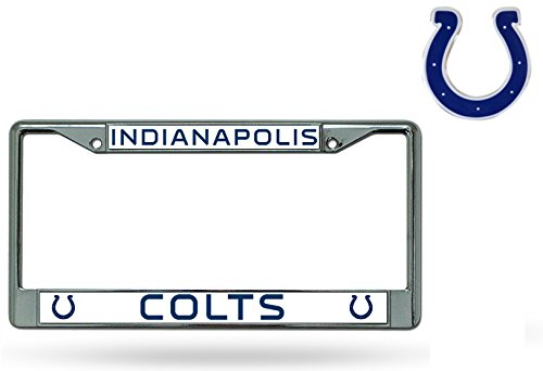 Rico Official National Football League Fan Shop Licensed NFL Shop Authentic Chrome License Plate Frame and Colored Auto Emblem (Indianapolis Colts)