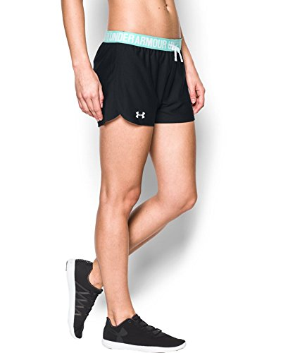 Dry Play Training - Under Armour Women's Play Up Shorts, Black/Aqua Falls, X-Small