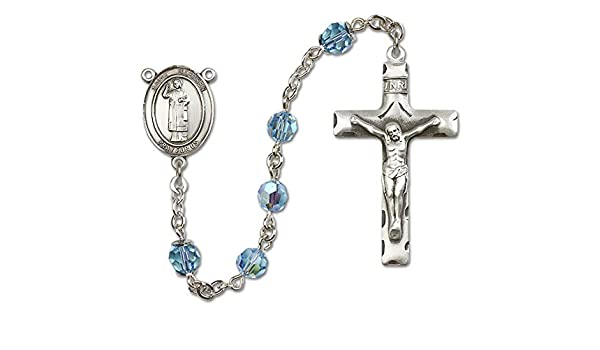 Austrian Tin Cut Aurora Borealis Beads All Sterling Silver Rosary with Garnet Stephen the Martyr is the Patron Saint of Deacons//Stonemasons. St 6mm Swarovski St Stephen the Martyr Center