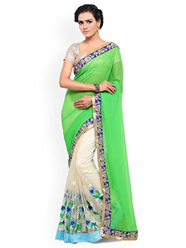 Lenora Embroidered Green Saree white amp; Georgette Pure Off rOrP4