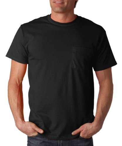 Fruit of the Loom mens 5 oz. 100% Heavy Cotton HD Pocket T-Shirt(3931P)-BLACK-L