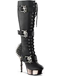 Summitfashions Womens Black Knee High Boots with Spikes and Finger Bone Shaped 5.5 Heels