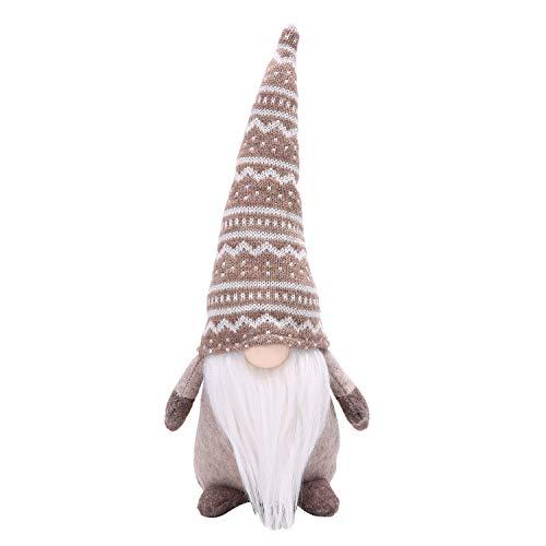 LARLIFE Handmade Christmas Gnome Decoration Santa Swedish Figurines (Khaki)
