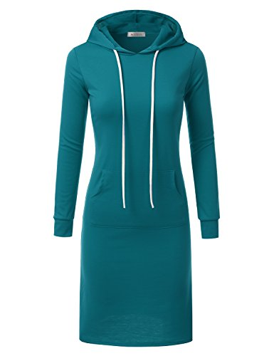for Size Doublju Plus USA Hoodie Dress in teal with Midi Awohol070 Made Women Ctgtq0
