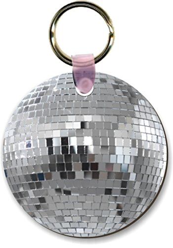 (Rikki Knight Silver Mirrored Disco Ball Design Round Shape Key Chains - Luggage Identifier Tags (Set of)