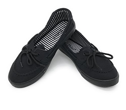 Blue Berry EASY21 Canvas Lace Up Flat Slip On Boat Comfy Round Toe Sneaker Tennis Shoe,All Black,Size 8