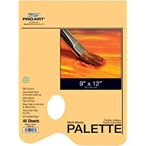 PRO ART Disposable Palette Pad, 9-inch x 12-inch, 40 Sheet Tape Bound