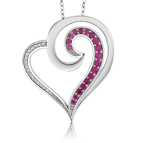 Sterling-Silver-Gorgeous-Created-Ruby-and-Accent-Diamond-Heart-Shaped-Pendant-Necklace-with-18-Inch-Silver-Chain