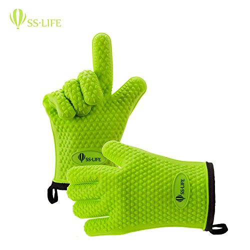 SSLIFE Silicone Cooking Gloves - Silicone and Cotton Double-layer Heat Resistant Oven Mitt - Perfect for Cooking, Grilling, Baking, BBQ, Kitchen - Green (Oven Mitts For Small Hands compare prices)