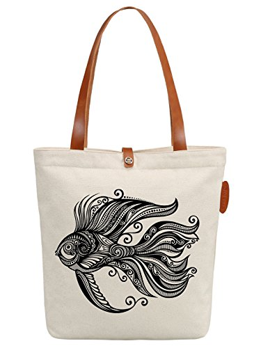 IN.RHAN Women's Goldfish Geometric Pattern Canvas Handbag Tote Bag Shoulder Bag
