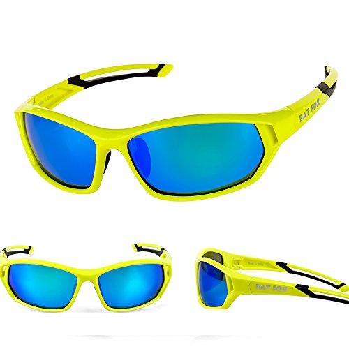 Batfox Polarized Sports Sunglasses Men Women for Baseball Running Cycling Fishing Golf(HD Multi Coating PC Lens, Silicon Leg,Lightweight Frame,Adjustable Nose Piece) (Green, - Snowboarding For Sunglasses