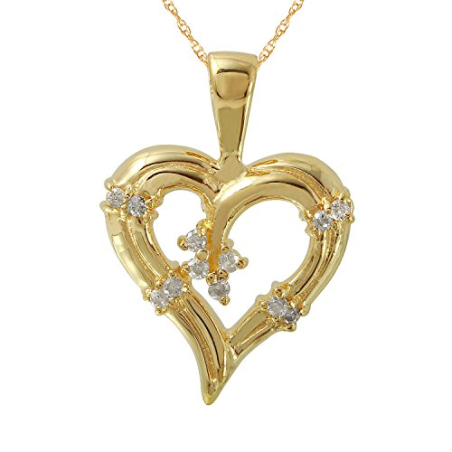 0.15 Carat Natural Diamond 14K Yellow Gold Heart Pendant Necklace for Women 0.15 Ct Natural Diamond