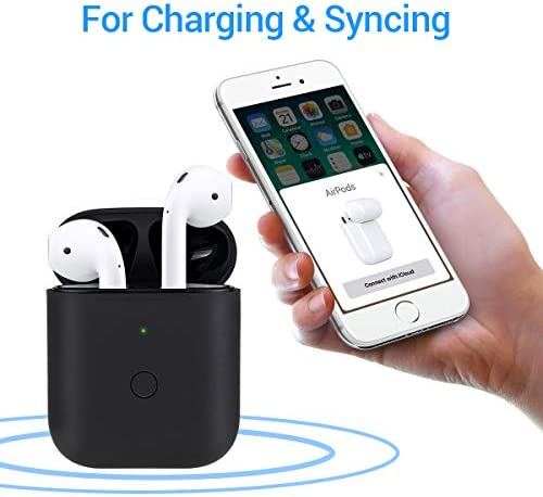 [Upgraded] Charging Case Replacement for Airpods with Sync Button, Wireless Charging Case Compatible with Airpod 1 & Airpod 2, 450mA Built-in Battery, Black 41BLCC2UjHL