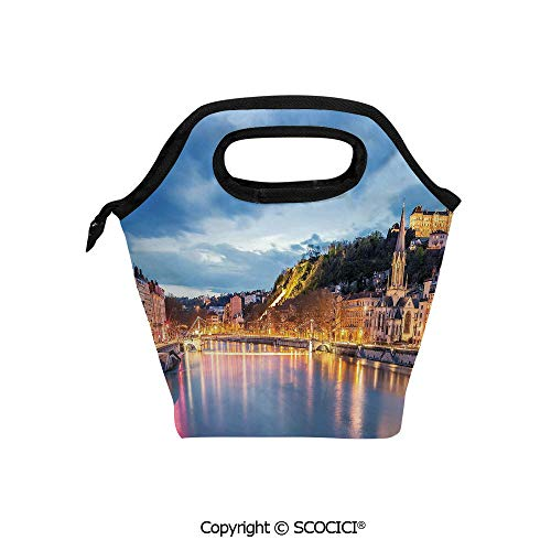 Lightweight Portable Picnic tote lunch Bags View of Saone River in Lyon City at Evening France Blue Hour Historic Buildings lunch bag for Employee student Worker.