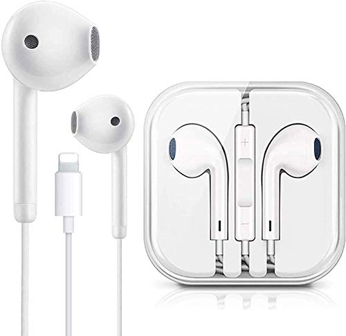 Lighting Connector Earbuds Earphone Wired Headphones Headset with Mic and Volume Control,Isolation Noise,Compatible with Apple iPhone 11 Pro Max/Xs Max/XR/X/7/8/8 Plus Plug and Play Disc Cleaners