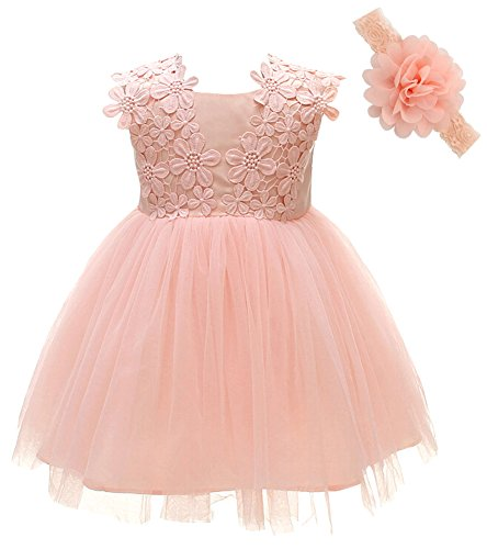 Greatop Baby Girls Dress Christening Baptism Party Formal Dress(Pink(Style 2),12M/12-15Month)