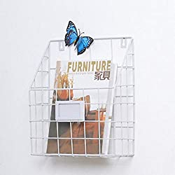 Tanchen Modern Wire Magazine Newspaper Storage Baskets Wall Mounted Hanging Rack Post Organizer