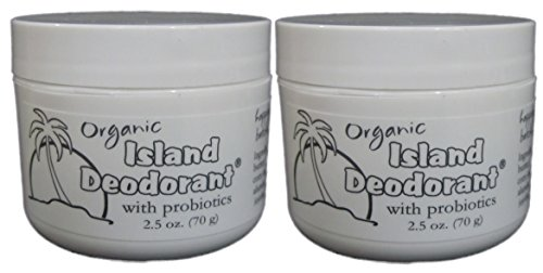 Organic Island Deodorant, 2 Pack, Probiotic Deodorant Cream, Natural, Aluminum-Free, Unscented, Mix in Your Own Essential Oils 2 Jars