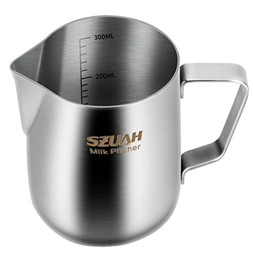SZUAH Milk Frothing Pitcher, Stainless Steel Frothing Cup with Measurement Inside 10 oz (300ml), Perfect for Latte Art, Espresso Maker, Cappuccino Maker (Stainless Steel Maker Cappuccino)