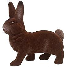 Ino Schaller Flocked Brown Standing Bunny Rabbit German Easter Paper Mache