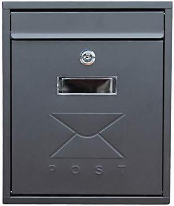 メールボックス 亜鉛メッキメタルキーコマーシャル農村ホーム装飾オフィスビジネス全天候ウォールマウントメールボックス、屋外 家庭用またはビジネス用 (Color : Black, Size : 26x9.5x31cm)