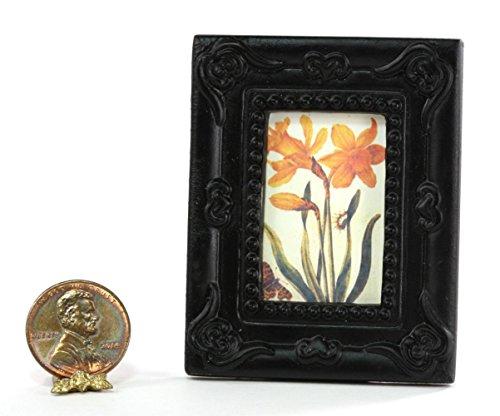 Miniature 1:12 Scale Artwork Victorian Black Framed Yellow ()