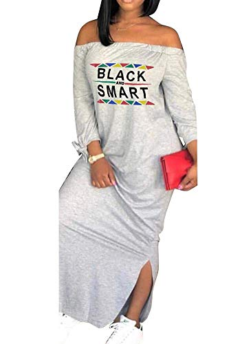 ECHOINE Womens Casual Maxi Dress - Loose African Letter Print Off Shoulder T Shirt Dress Outfit Gray