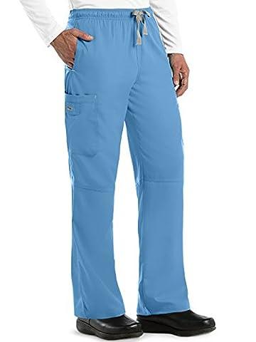 Grey's Anatomy Men's Modern Fit Cargo Scrub Pant, Ciel, Large - Elastic Cargo Scrub Pants