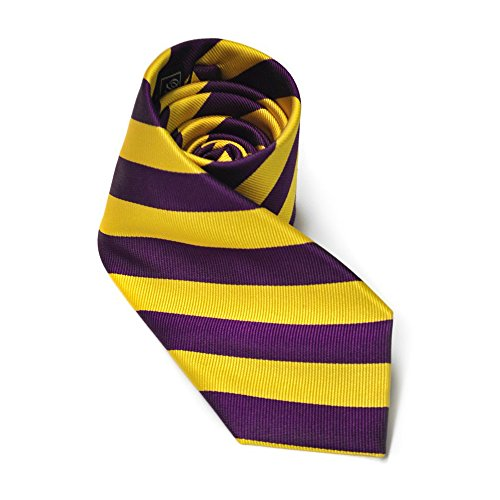 East Carolina Purple and Gold Diagonal Stripe Necktie ECU LSU (Lsu Neck Ties)