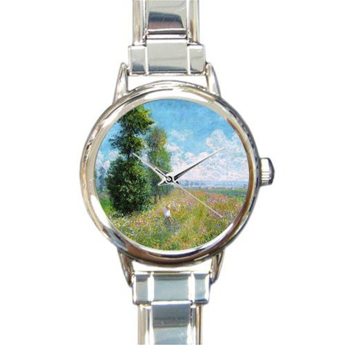 Personalized Watch Claude Monet Art Round Italian Charm stainless steel Watch - Christmas Guft by Claude Monet's Painting Watch