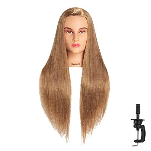 Hairingrid 26-28 Mannequin Head Hair Styling Training Head Manikin Cosmetology Doll Head Synthetic Fiber Hair and Free Clamp Holder (R71907LB62720)