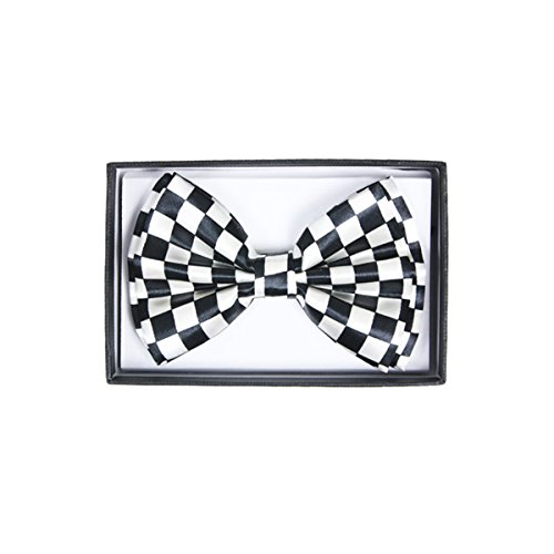 Pre-Tied Adjustable BOWTIE Selections for Men Women juniors to All Occasions Events Costumes (White Checkered) -